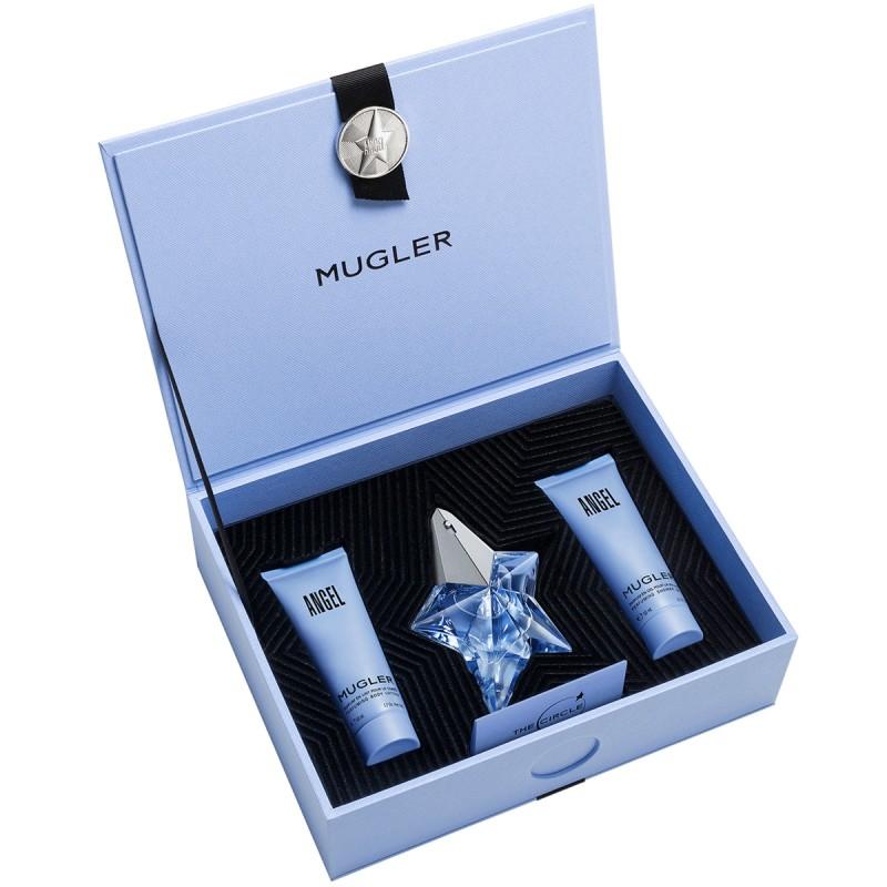 Coffret Thierry Mugler Angel Eau de Parfum 25ml + Parfum en Lait 50ml + Parfum en Gel pour la Douche 50ml Rechargeable