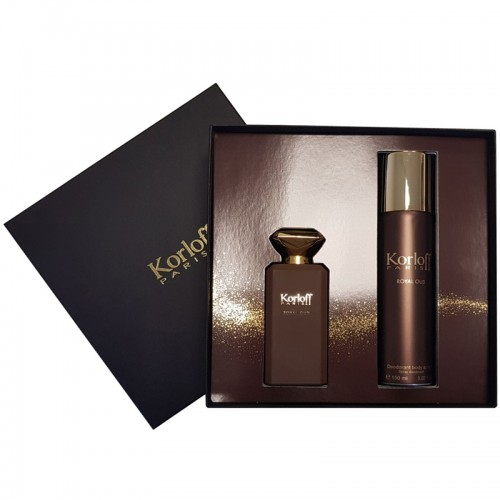 Coffret Korloff Royal Oud Eau De Parfum 88Ml + Deodorant Spray 150Ml Hommes