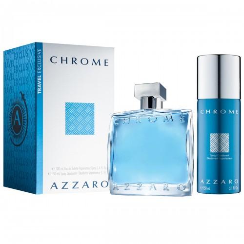 Coffret Azzaro Chrome Eau De Toilette 100ml Deodorant Spray 150ml Hommes
