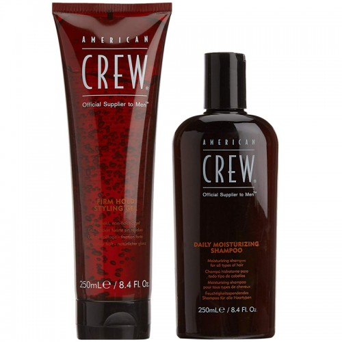 American Crew Daily Gels Firm Gold Styling 250Ml +Daily Moisturizing Shampoo 250M Hommes