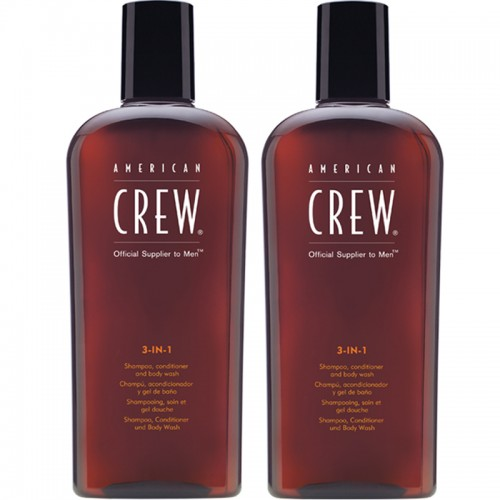 American Crew 3 In 1 Shampooing, Après-Shampooing, Lavage Du Corps Hommes