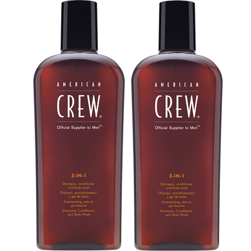AMERICAN CREW 3 IN 1 SHAMPOOING, CONDITIONNEUR, LAVAGE DU CORPS LOTE 2 PARTIES