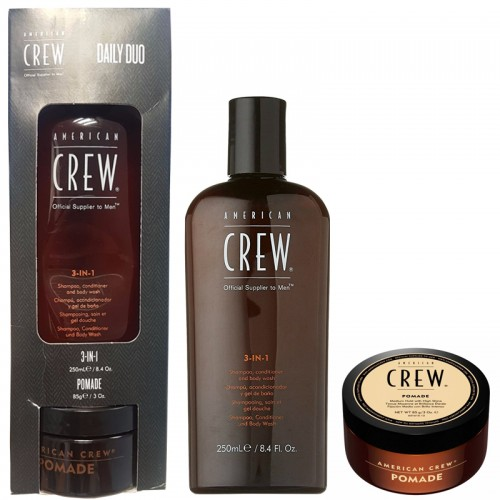 American Crew Classic Pomade Ultra Brillance 85G + 3 In 1 Shampooing, Conditionneur, Lavage Du Corps 250Ml Hommes