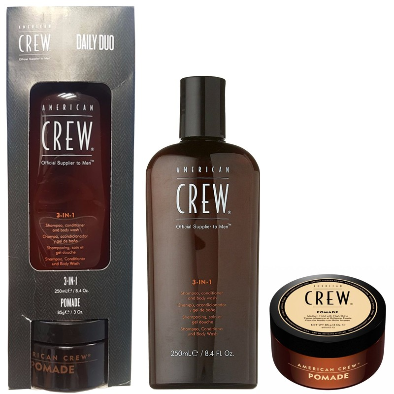 AMERICAN CREW CLASSIC POMADE ULTRA BRILLANCE 85G + AMERICAN CREW 3 IN 1 SHAMPOOING, CONDITIONNEUR, LAVAGE DU CORPS 250ml HOMMES