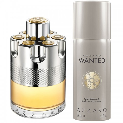 COFFRET AZZARO WANTED EAU DE TOILETTE 100ml DEODORANT SPRAY 150ml HOMMES