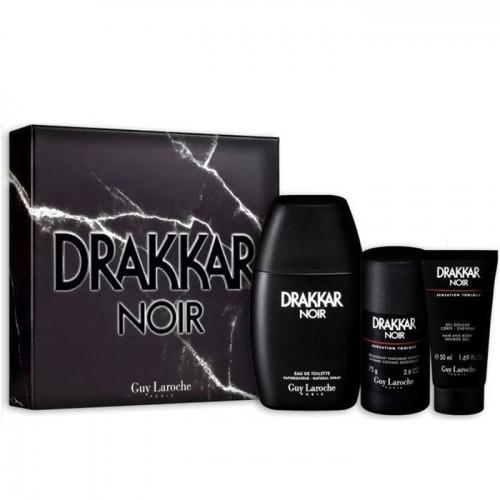 Coffret Guy Laroche Drakkar Noir Eau De Toilette Gel Douche Déodorant